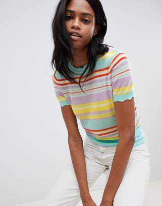 Oasis stripe knitted t-shirt in multi
