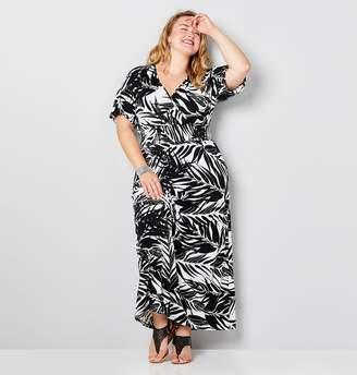 Avenue Plus Size Black And White Tropical Print Surplice Neckline Maxi Dress