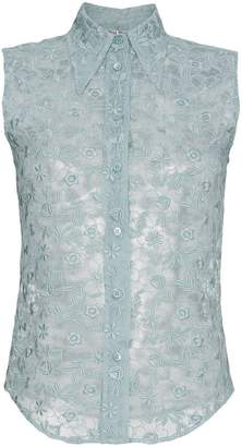 Miu Miu sleeveless embroidered lace shirt