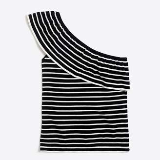 J.Crew Factory Striped one-shoulder ruffle sweater