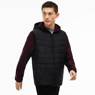Lacoste Men's Hooded Zippered Sweatshirt In Two-Tone Quilted Jersey
