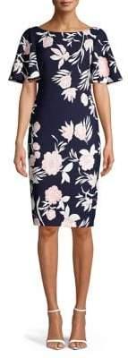 Eliza J Flutter-Sleeve Floral Sheath Dress