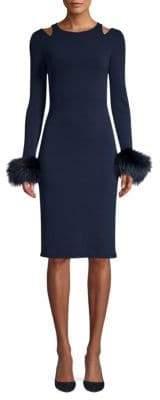 Alice + Olivia Tabitha Fox Fur Trimmed Sheath Dress