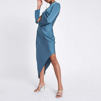 River Island Blue long sleeve asymmetric hem dress