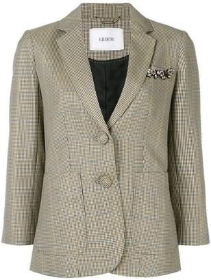 Erdem Alvine Wool Plaid Jacket
