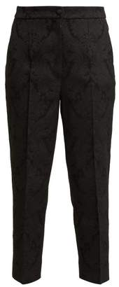 Dolce & Gabbana - Slim Leg Floral Jacquard Trousers - Womens - Black