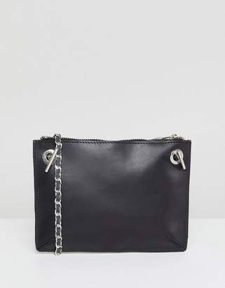 Asos DESIGN Leather Minimal Chain Strap Cross Body Bag