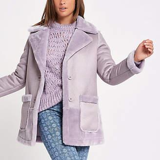 River Island Light purple faux fur reversible coat