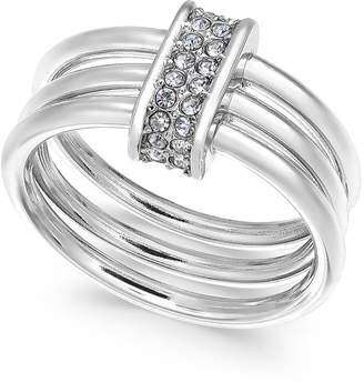 Alfani Silver-Tone Pavé Link Triple-Row Ring, Created for Macy's