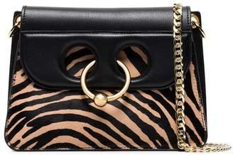 J.W.Anderson black mini Pierce zebra ponyskin cross-body bag