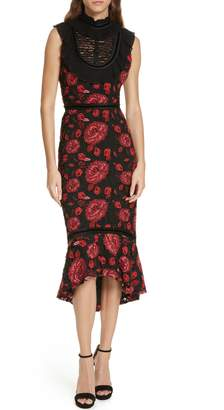Alice + Olivia Evelina High Ruffle Neck Body-Con Midi Dress