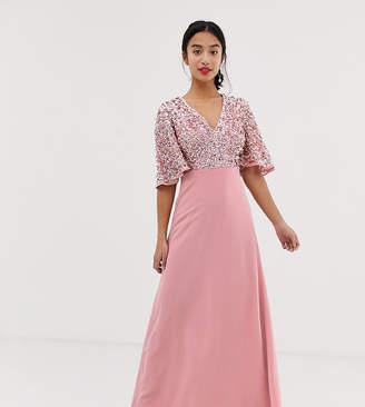 Maya Petite Sequin Top Maxi Bridesmaid Dress With Flutter Sleeve Detail