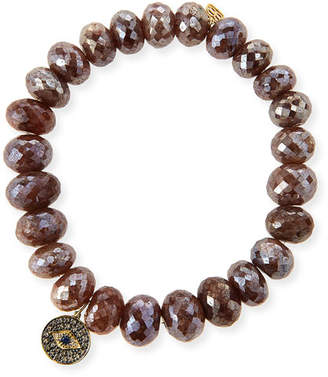 Sydney Evan 8mm Faceted Brown Silverite Beaded Bracelet with 14k Diamond Evil Eye Disc Charm