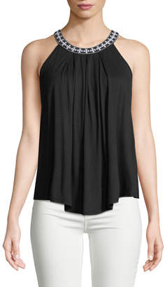 Neiman Marcus Embroidered Halter Neck Blouse