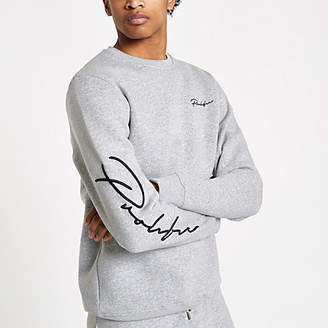 River Island Grey marl 'Prolific' slim fit sweatshirt