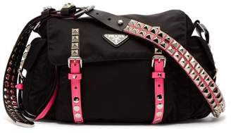 Prada Vela Leather Trimmed Cross Body Bag - Womens - Black Pink