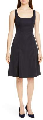 BOSS Dafa Square Neck Pleat Front Dress