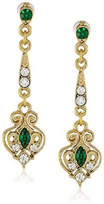 Downton Abbey Boxed Gold-Tone Filigree Emerald Crystal Linear Drop Earrings