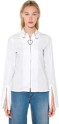 Hands Collar Heart Zip-Up Poplin Shirt