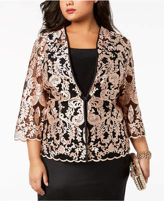 Alex Evenings Plus Size Embroidered Lace Jacket & Shell