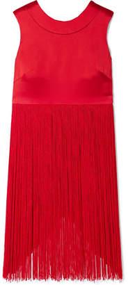 Semsem Fringed Silk-satin Top - Red