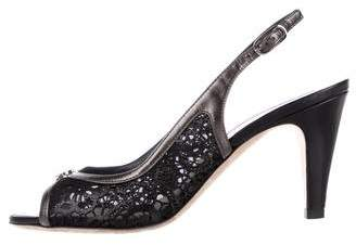 Chanel Laser-Cut CC Slingback Sandals