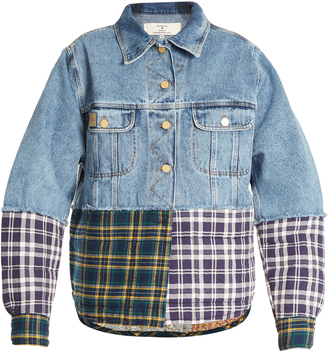 Oversized checked-panel denim jacket