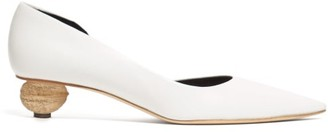 Loewe Walnut Heel Leather Pumps - Womens - White