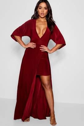 boohoo Slinky Plunge Kimono Sleeve Maxi Dress