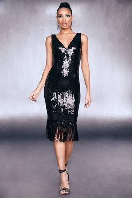 boohoo Premium Sequin Fringed Hem Dress