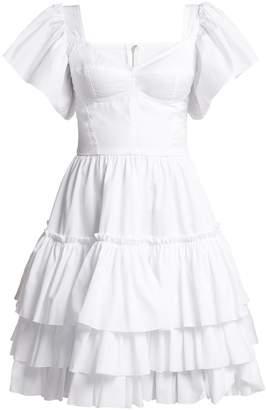 Tiered-ruffle cotton-poplin mini dress
