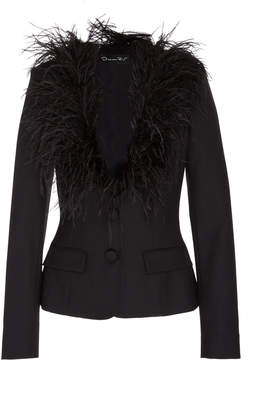 Oscar de la Renta Double Breasted Jacket With Feathers