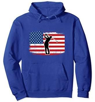 Golf Player Swinging Driver American Flag Golf Gift Hoodie