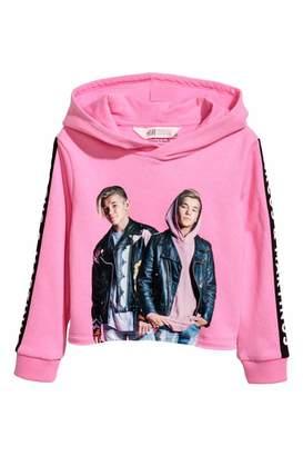 H&M Short Printed Hooded Top - Pink/Marcus & Martinus - Kids