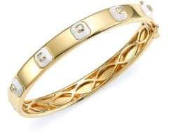 Maria Canale Pyramide 18K Yellow Gold, Diamond& White Agate Stackable Hinged Bangle