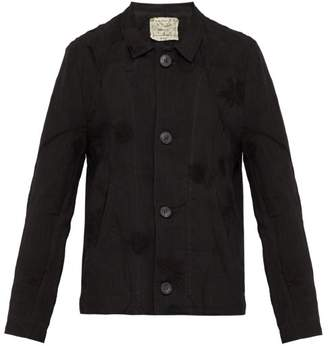 By Walid - Murat Floral Embroidered Linen Jacket - Mens - Black