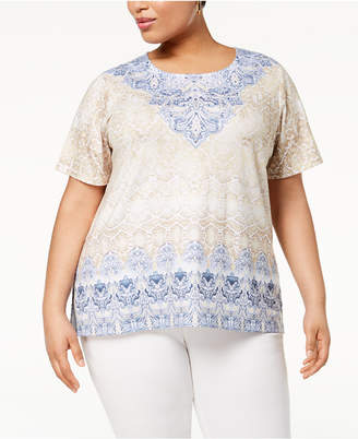 Alfred Dunner Blues Traveler Plus Size Printed T-Shirt