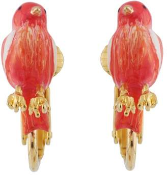 Les Nereides Lovely Canaries Little Coral Bird Clip Earrings - Pink - CLIP