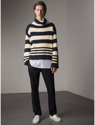 Burberry Striped Knitted Cashmere Roll-neck Sweater