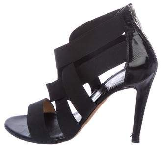 Sergio Rossi Leather-Trimmed Crossover Sandals