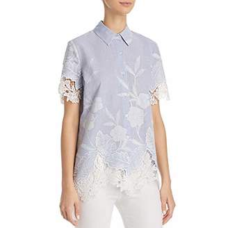 T Tahari Women's Lola Sheer Floral Lace Short Sleeve Blouse