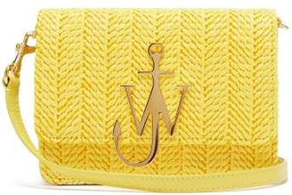 J.W.Anderson Logo Plaque Raffia And Leather Cross Body Bag - Womens - Yellow