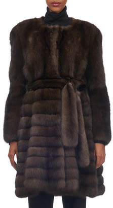 Tsoukas Belted Vertical Sable Fur Stroller Coat with Horizontal Flare Skirt