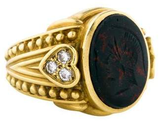 Judith Ripka 18K Bloodstone & Diamond Cocktail Ring