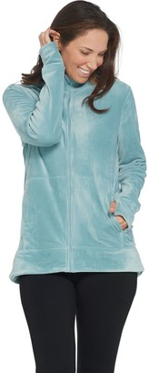 Cuddl Duds Double Plush Velour Mock Neck Zip-Up Jacket