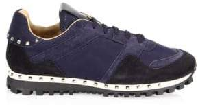 Valentino Rockrunner Studded Suede Sneakers