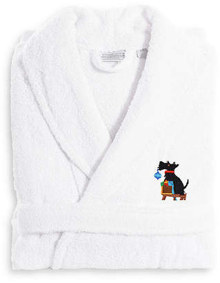 Asstd National Brand Linum Home Embroidered Luxury 100% Turkish CottonTerry Bathrobe - Christmas Dog