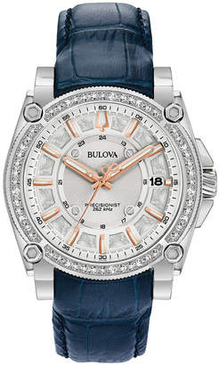 Bulova Women's Precisionist Diamond (3/4 ct. t.w.) Blue Leather Strap Watch 40mm