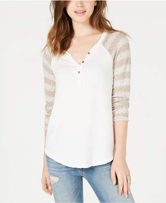 American Rag Juniors' Crochet-Sleeve Henley Top