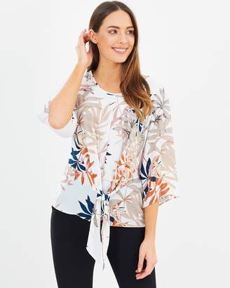 Wallis Spiced Palm Tie-Front Top